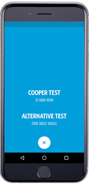 CooperFit App - Test Type Screenshot