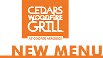 Cedars Woodfire Grill at Cooper Aerobics Menu