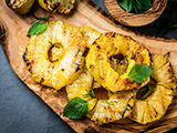 Grilled Pineapple with Fresh Mint and Frozen Yogurt Dessert